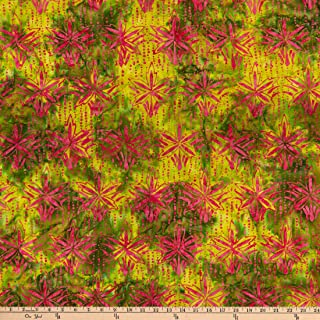 Anthology Batiks Art Inspired Northern Blooms Wallflower Green Fabric by the Yard