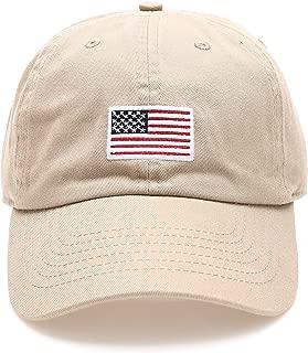 MIRMARU USA American Flag Embroidered 100% Cotton Adjustable Strap Baseball Cap Hat