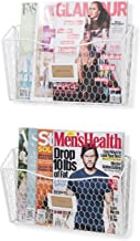 Wall35 Felic Metal Wire Magazine Racks - Wall Mount File Folder Holder with Name Tag Slots White Set of 2