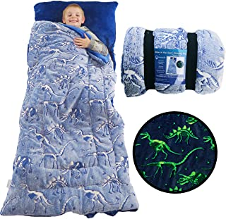 Dinosaur Sleeping Bag Glow in The Dark Dino Slumber Bag for Boys - Plush Glowing T-Rex Nap Mat for Kids- Luminescent Blue ...