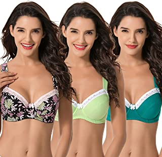 Curve Muse Women's Plus Size Underwired Unlined Balconette Cotton Bra With-3Pack