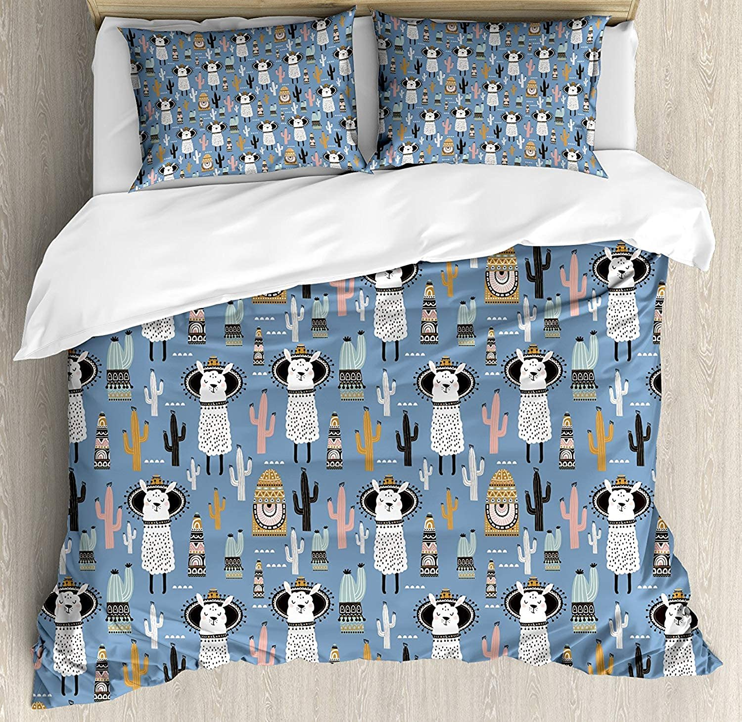 Llama Duvet Cover Set, Luxury Soft Hotel Quality 4 Piece King Plush Microfiber Bedding Sets, Cute Llamas with Tribal Aztec Native American Style Primitive Kids Playroom Theme
