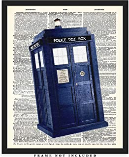 Dr. Who Tardis Police Box Dictionary Wall Art Print: Unique Room Decor for Boys, Men, Girls & Women - (8x10) Unframed Picture - Great Gift Idea Under $15