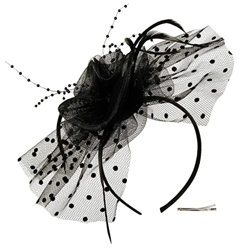 82993d168f636 Fascinators Hat for Women Tea Party Headband Kentucky Derby Wedding  Cocktail Flower Mesh Feathers Hair Clip