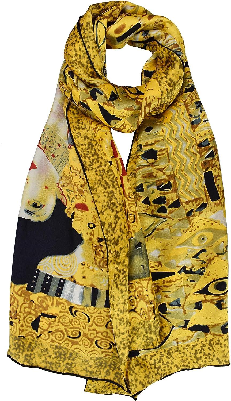 ELEGNA Luxurious 100% Silk Scarf Shawl with Hand Rolled Edge Gustav Klimt Adele Blochbauer
