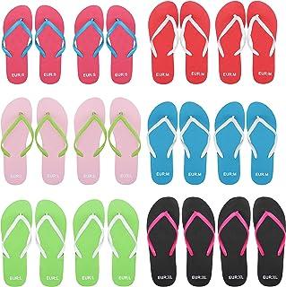 BELLE VOUS Tong Hommes, Femmes et Enfants (12 Paires) - 6 Couleurs - 4 Tailles - Flip Flops Small, Medium, Large et Extra ...