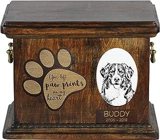 ArtDog Ltd. Bernese Mountain Dog, urna para Cenizas de Perro con Placa de Cerámica y Descripción