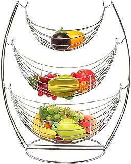 MyGift 3 Tier Chrome Triple Hammock Fruit/Vegetables/Produce Metal Basket Rack Display Stand