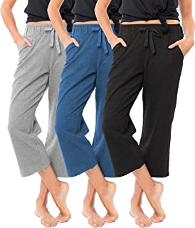 Women's 3 Pack Soft French Terry Fleece Casual/Active Comfy Capri Jogger Yoga Bottom Lounge & Sweatpants