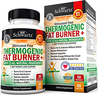 Thermogenic Fat Burner for Women & Men - 4 Way Weight Loss Support - Stimulant Free with All Natural Ingredients- Promotes...
