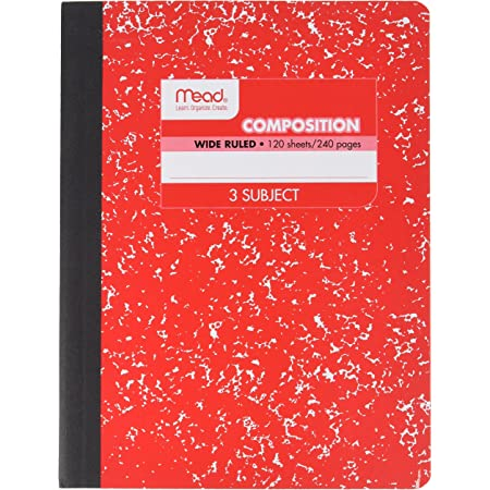 Mead Square Deal Color Composition Book, 3 Subject, 120 Sheets, Color Selected For You, 1 Count (09950)