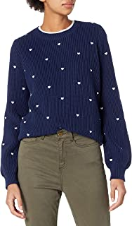 Lucky Brand Women's Embroidered Heart Crew Neck Sweater