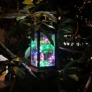 Solar Outdoor Lantern, Waterproof Hanging Solar Lantern with 30 LED Fairy Copper String Lights for Patio, Garden, Lawn,Pathway (Colorful)