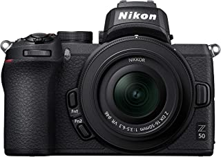 Nikon Z50 - Cámara DX Mirrorless, 11 FPS, Vídeo 4K, Pantalla Táctil abatible, Kit Cuerpo con Objetivo 16-50 DX VR, Color N...