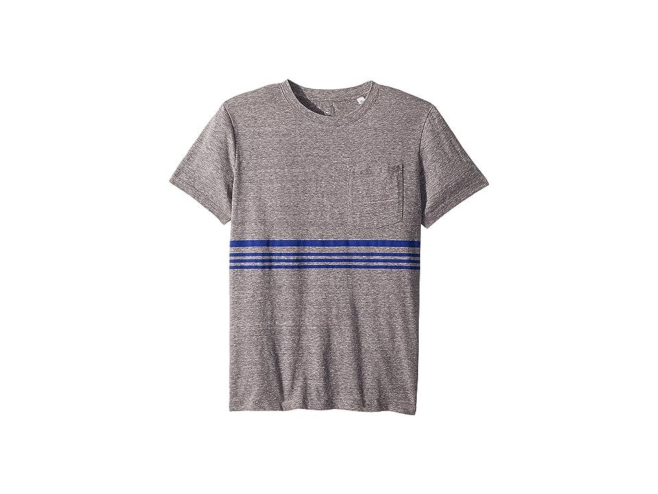 Image of AG Adriano Goldschmied Kids Declan Striped Pocket Tee (Big Kids) (Heather Grey/Blue) Boy's T Shirt
