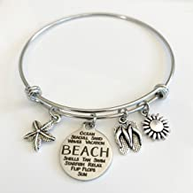 Beach Lovers Expandable Charm Bracelet with Stainless Steel Wire - Best Friend Bangle - Small-Med