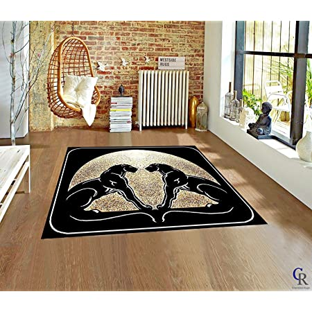 Double Black Panthers Animals Moon Novelty Carpet Area Rug 5 3 X 7 5 Garden Outdoor
