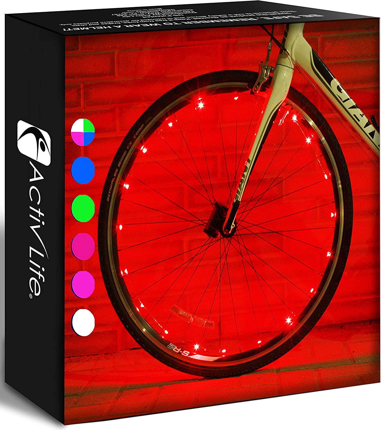 Get 100/% Brighter and Visible from All Angles for Ultimate Safety /& Style Activ Life 2 Tyre Pack LED Bike Wheel Lights with Batteries Included