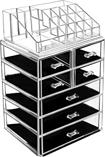 BELANT Makeup Organizer with Bigger Drawers 2 Pieces Acrylic Jewelry and Cosmetic Storage Display Box, Fit for Most Makeup...