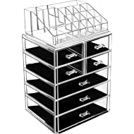 BELANT Makeup Organizer with Bigger Drawers 2 Pieces Acrylic Jewelry and Cosmetic Storage Display...