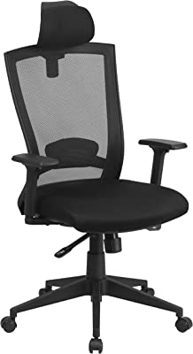 Flash Furniture High Back Black Mesh Executive Swivel Ergonomic Office Chair with Back Angle Adjustment and Adjustable Arms