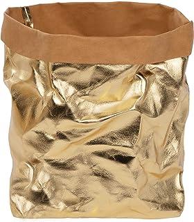 ONVAYA® Panier de rangement doré/gris | Boîte décorative | Boîte cadeau | Aspect cuir | Végétalien | Lavable | Panier à pa...