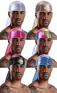 Rainbow Durag Pack for Men Women,Glitter Laser Hologram Bandana Doo Rag for 360,540,720 Waves