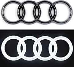 JetStyle [2018 Upgraded] LED Emblem, Compatible with Audi, Front Car Grill Badge, Auto Illuminated Logo, Glowing Rings, Lights DRL Daytime Running Lights White - Drive Brighter … (273 mm Black)
