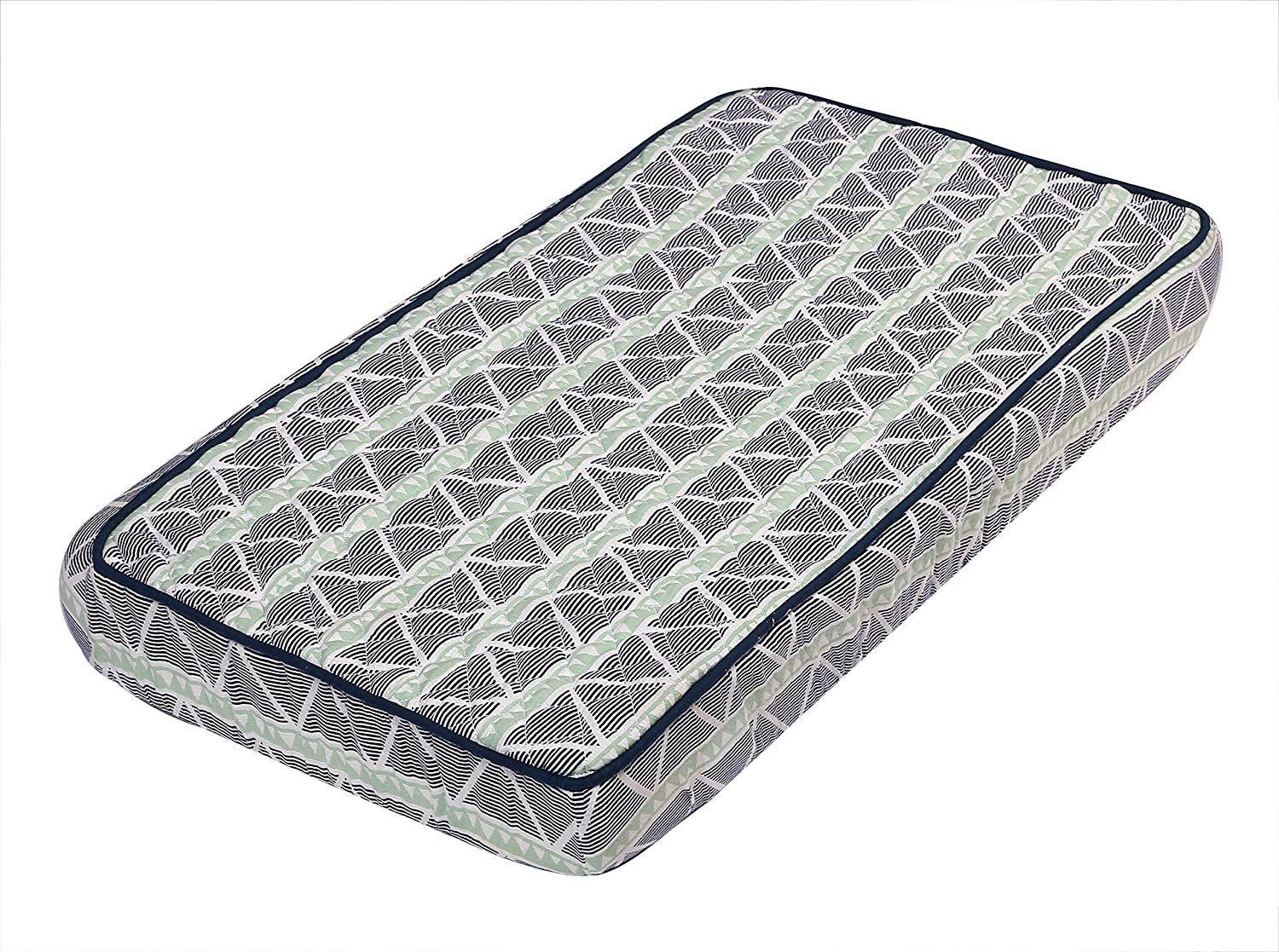 Bacati - Tribal/Aztec Muslin Quilted Changing Pad Cover (Large Triangles, Mint/Navy)