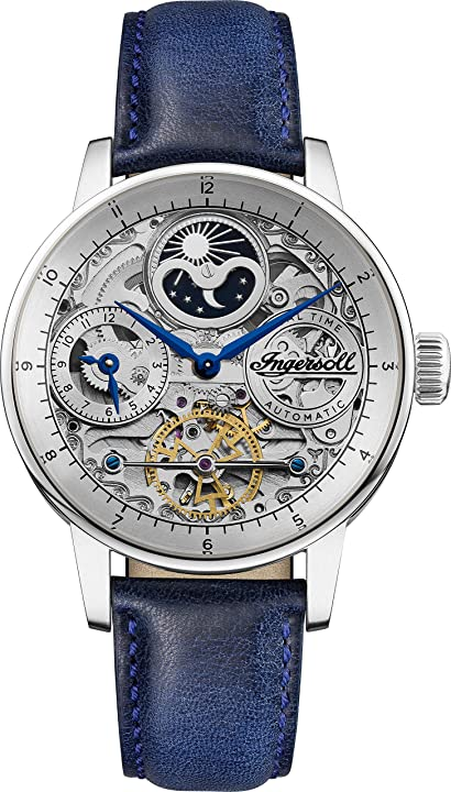 Orologio ingersoll the jazz mens automatic watch i07702 with a silver dial and a blue genuine leather band