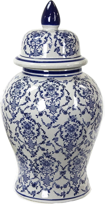 Sagebrook Home 11850 Ceramic Temple Jar, bluee White Ceramic, 10 x 10 x 18.75 Inches