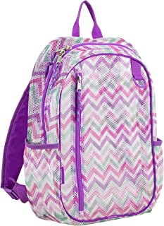 Active Mesh Backpack with Padded Adjustable Straps, Spike Shevron/Grape Sizzle