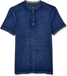 Buffalo David Bitton Men's Short Sleeve Knit, Y Neck Burnout Jersey