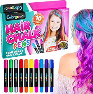 Colorgenics Hair Chalk Pens, Washable 10 Color Hair Chalk for Girls, Temporary Hair Color, Non-Toxic Hair Dye, Hair Chalk Pens & Glitters, Perfect Birthday, Christmas Gifts for Kids, Party & Cosplay