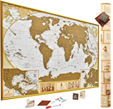 Antique Edition Gold Scratch Off World Map, Very Detailed -10.000 Cities Big Size-35x25 Inches, US States Outlined, Unique Tool Set, Glossy Finish Travel Map. Perfect for Travelers by MyMap