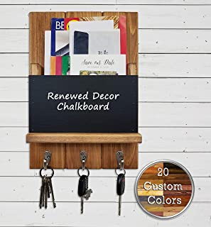 Sydney Memo Chalkboard, Mail Holder Organizer and Key Holder, Available with up to 3 Single Key Hooks – Choose from 20 Custom Colors: Shown in Early American - Rustic Home Decor