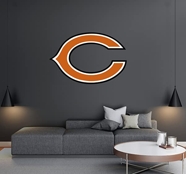 Chicago Bears Football Team Logo Wall Decal Removable Reusable For Home Bedroom Wide 30 X20 Height