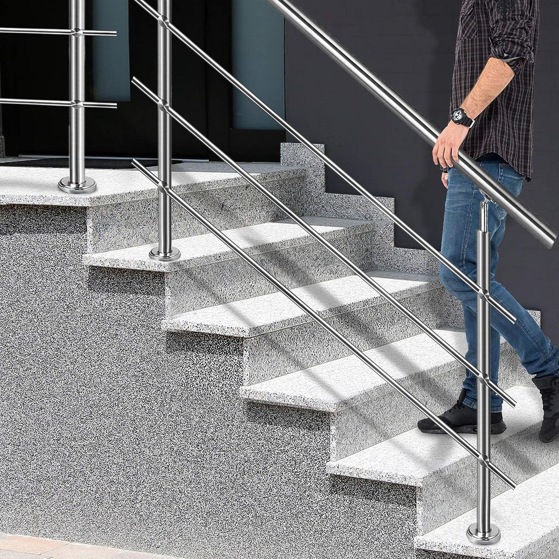 Balkon ohne Querstreben Br/üstung Innen und Au/ßen Silber L/änge: 80cm Aufun Treppengel/änder Edelstahl Handlauf Gel/änder f/ür Treppen