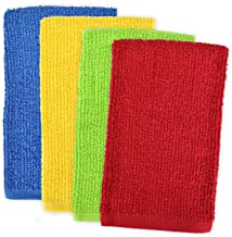 DII 100% Cotton, Machine Washable, Ultra Absorbent, Everyday Kitchen Basic, Utility, Bar Mop Dishtowel 16 x 19 Set of 4- P...
