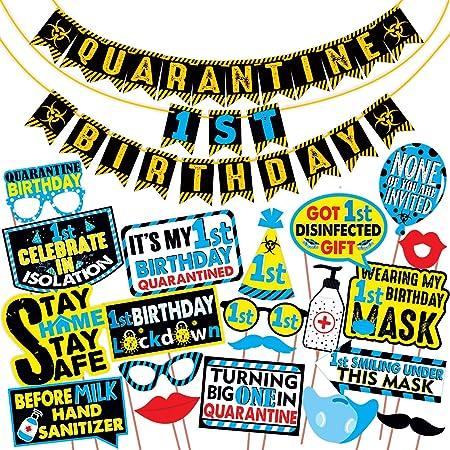 Wobbox Quarantine 1st Birthday Photo Booth Party Props DIY Kit with Quarantine 1st Birthday Party Banner Combo, Blue Colour, Quarantine Birthday Decoration