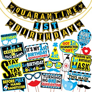 Wobbox Quarantine 1st Birthday Photo Booth Party Props DIY Kit with Quarantine 1st Birthday Party Banner Combo, Blue Colou...