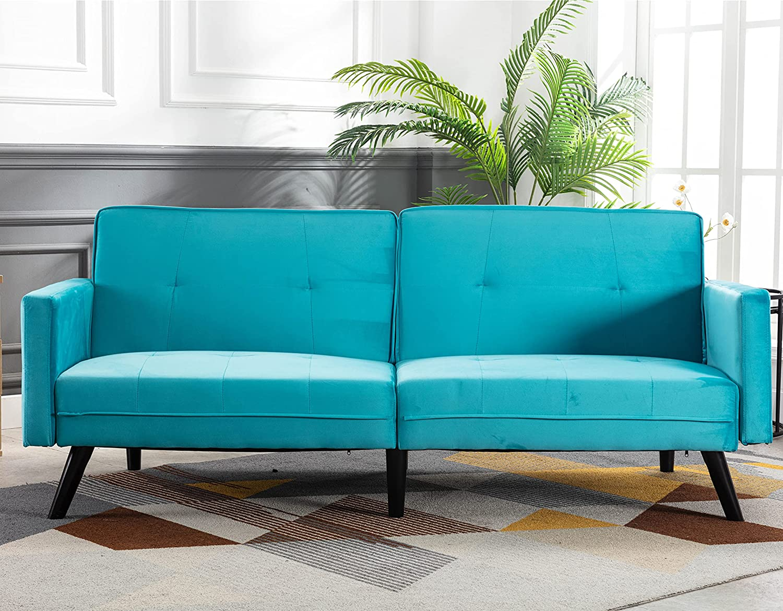 SSLine Online limited product Velvet Futon Couch Recommendation Mid Century Wood Moder Sofa Legs
