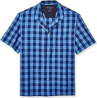 قميص بيجامة رجالي من Nautica بأكمام قصيرة من القطن بأزرار سفلية منسوجة باللون الأزرق الداكن مقاس XX-Large