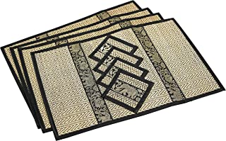 Eco Friendly Handmade, Heat Resistant, Easy to wipe clean, Placemat Coaster 4 sets, 2 sizes Large Medium, Sustainable Kitchen Dining table mat natural reed material artisan (Large, Black)