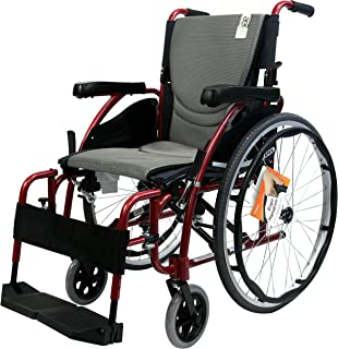 Karman Healthcare Ergonomic Wheelchair in 16-Inch Seat, Red Frame and Silver Cushion
