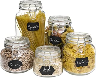 Best Choice Products Glass Storage Mason Jars w/Clip-Top Lids, 10 Reusable Labeling Stickers, Anti-Dust Chalk, Set of 5, Clear