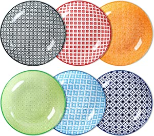 Lareina Salad Pasta Bowls Set of 6, Wide and Shallow Porcelain Dinner Bowls, Large 30 OZ Deep Pasta Plates for Soup, Microwave and Dishwasher Safe