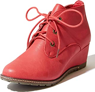 Women's Fashion Up Round Toe Ankle High Oxford Wedge Bootie