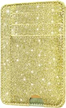HOTCOOL Front Pocket Minimalist Leather with RFID Blocking Card Holder Wallet for Men & Women, Glitter Gold