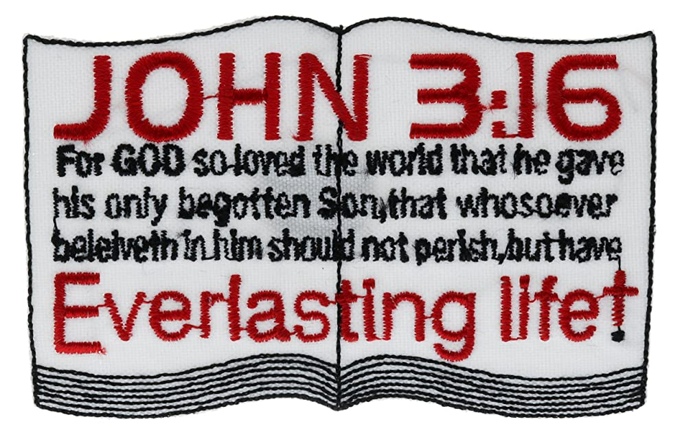 John 3:16 Embroidered On Open Bible Page 4 x 2 Inch Patch PPMPG13A1631
